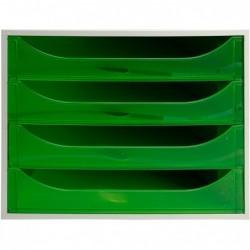 EXACOMPTA ECOBOX Caisson 4 tiroirs Office gris/vert pomme transparent