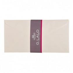 G.LALO paquet de 20 enveloppes DL doublées toile impériale gommées Blanc