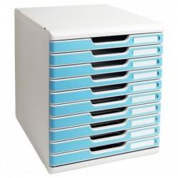 EXACOMPTA Bloc de classement Modulo 10 tiroirs A4+ 26 mm Gris lumière/turquoise