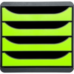 EXACOMPTA Bloc de classement BIG-BOX 4 Tiroirs A4+ 55 mm Gris souris/vert anis