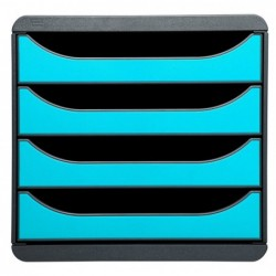 EXACOMPTA Bloc de classement BIG-BOX 4 Tiroirs A4+ 55 mm Gris souris / bleu turquoise