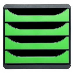 EXACOMPTA Bloc de classement BIG-BOX 4 Tiroirs A4+ 55 mm Gris souris/vert pomme