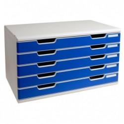 EXACOMPTA Bloc de classement Modulo 5 tiroirs A3+ 54 mm Gris lumière/bleu