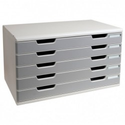 EXACOMPTA Bloc de classement Modulo 5 tiroirs A3+ 54mm Gris lumière/granit