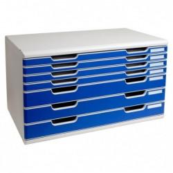 EXACOMPTA Bloc de classement Modulo 7 tiroirs A3+ 54mm et 26 mm Gris lumière/bleu