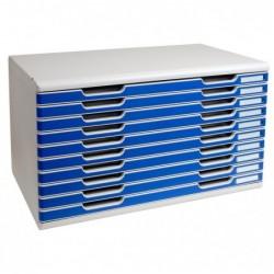EXACOMPTA Bloc de classement MODULO A3+ 10 tiroirs 26 mm Gris lumière/bleu