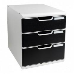 EXACOMPTA Bloc de classement MODULO A4+ 3 tiroirs 110mm et 82mm Gris lumière/noir