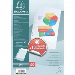 EXACOMPTA Paquet de 50 pochettes perforées 5/100 A4