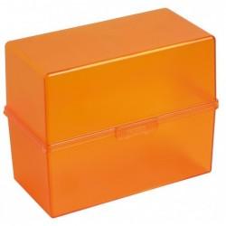 EXACOMPTA Bac à fiches Classic Portable pour 200 Fiches A6 Tangerine Translucide