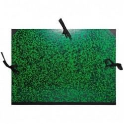 EXACOMPTA Carton à dessin Annonay avec 3 paires de cordons marbré vert 37x52cm