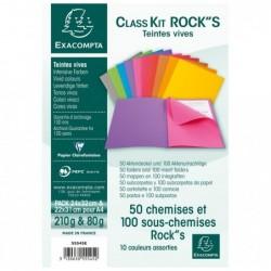 EXACOMPTA Pack 50 chemises + 100 sous chemises Rock's Assorties