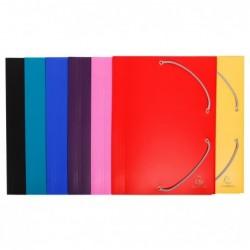 EXACOMPTA Chemise à élastique 3 rabats A4 Polypropylène 4/10e Opaque Coloris aléatoire