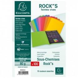 EXACOMPTA Paquet 100 Sous-Chemise ROCK'S Papier 80g Teintes Vives 10 Couleurs