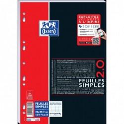OXFORD Feuillets Mobiles Etudiant A4 400 Pages 90g Séyès à Scanner avec Scribzee