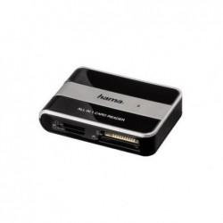 """HAMA Lecteur de cartes mémoire """"All in 1"""" USB 2.0 Noir/Argenté"""