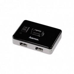 """HAMA Hub USB 2.0 """"On/Off Switch"""" 4 ports alimentation secteur Argenté/Noir"""