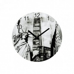HAMA Horloge murale New York Silencieuse en verre Diam 30 Cm