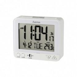 HAMA réveil radio-piloté RC550 Veilleuse / snooze / température / date Blanc