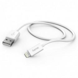 HAMA Câble de charge/synchronisation, Lightning, 1 m, blanc