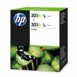 HP Pack 2 Cartouches Jet d'encre Originale N° 301XL TriColor
