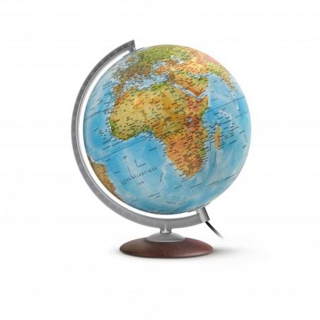 "JPC Globe terrestre lumineux 30 cm ""Médium"" en RELIEF bleu"