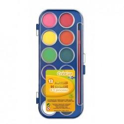 JPC Boite de 12 pastilles de couleur + 1 pinceau