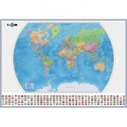 JPC carte murale monde 125 x 84 cm + Drapeau en carte pélliculée brillante