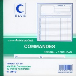 ELVE Manifold COMMANDES 210 x 210 mm 50 Feuillets Tripli