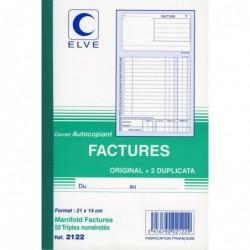 ELVE Manifold FACTURES 210 x 140 mm 50 feuillets Tripli