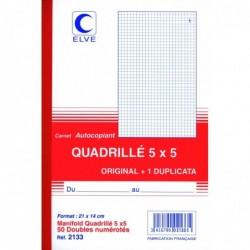 ELVE Manifold Autocopiant Quadrillé 5 x 5 210 x140 mm 50 Feuillets Dupli