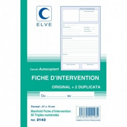 """ELVE Manifold """"Fiche d'intervention"""" 21 x 14 cm Vertical 50 F Tripli"""
