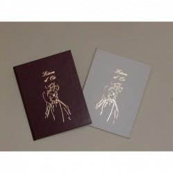 ELVE Livre d'Or bordeaux, sérigraphie de jeune mariés dorée - 297 x 210cm - 148 pages