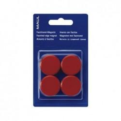 MAUL Blister de 4 Aimants ronds MAULpro 30 mm Puiss. 0,6 kg Rouge