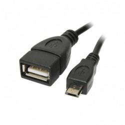 Adaptateur OTG Câble Micro USB B/M vers USB A/F 0,20m