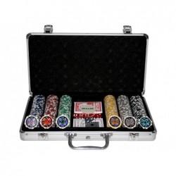 Malette de poker en alu + 300 jetons (jetons marqués de 11,5g LASER)