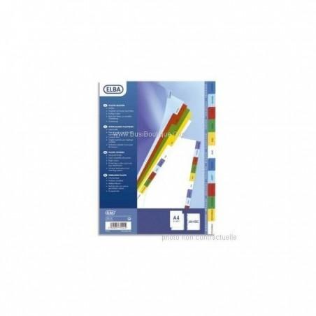 ELBA Jeu d'intercalaires A4 en polypropylène numérique coloré 31 touches