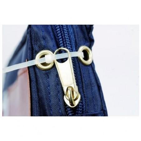 ALBA Pochette navette caisse en PVC à soufflet 27x18,5x4cm bleue