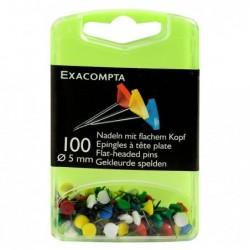 EXACOMPTA Boîte de 100 épingles à tête plate 5 mm H 8mm Assorties