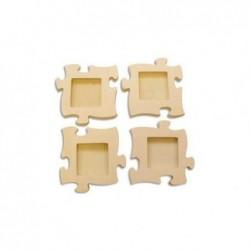 PW INTERNATIONAL Lot de 4 mini cadres Puzzle bois à décorer 16 x 16 cm
