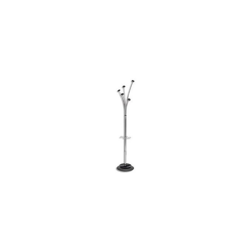 ALBA Portemanteau Festy 5 patères noires en ABS Fût chromé base D38 cm réceptacle d'eau Hauteur 187 cm