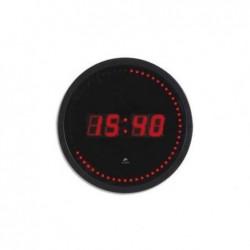 ALBA Horloge à led cadre plastique noir lentille en verre D30 cm affichage rouge