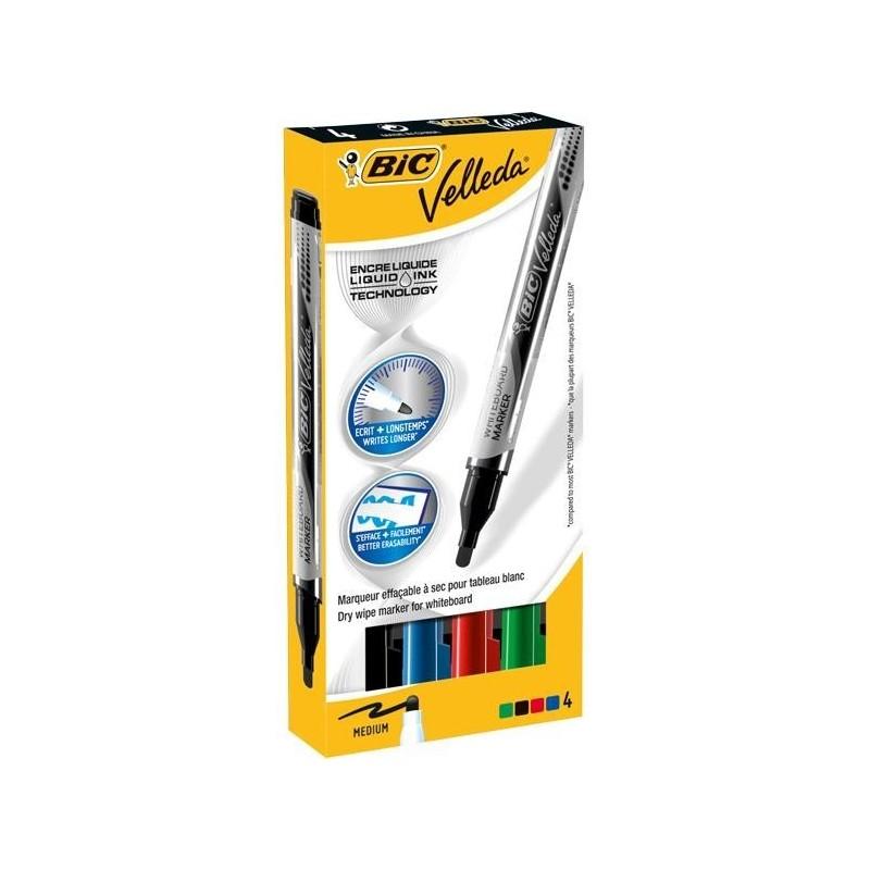 VELLEDA Etui 4 Feutres tableau blanc effaçable LIQUID INK Pocket Pte Ogive Moy. N/B/R/V