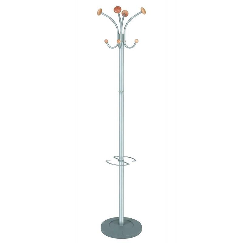 ALBA Portemanteau 4 patères, porte parapluie gris métal et bois Stily