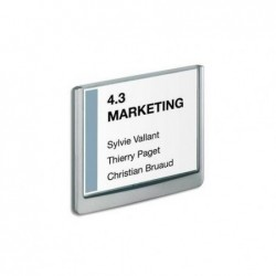 DURABLE Plaque de porte CLICKSIGN Gris en ABS - Fiche Bristol fournie, L 14,9 x H 10,55 cm