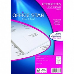 OFFICE STAR Boite de 4000 étiquettes multi-usage blanches 48.5x25,4mm
