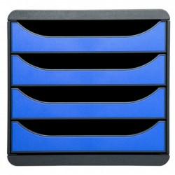 EXACOMPTA Bloc de classement BIG-BOX 4 Tiroirs A4+ 55 mm Gris souris / Bleu glace