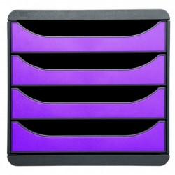 EXACOMPTA Bloc de classement BIG-BOX 4 Tiroirs A4+ 55 mm Gris / Violet