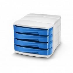 CEP Pro Module de classement Gloss 4 tiroirs - Dimensions L29,2 x H24,6 x P38,6 cm blanc bleu océan
