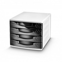 CEP Bloc de classement Origins 4 tiroirs L30 x H26,5 x P36,8 cm coloris noir