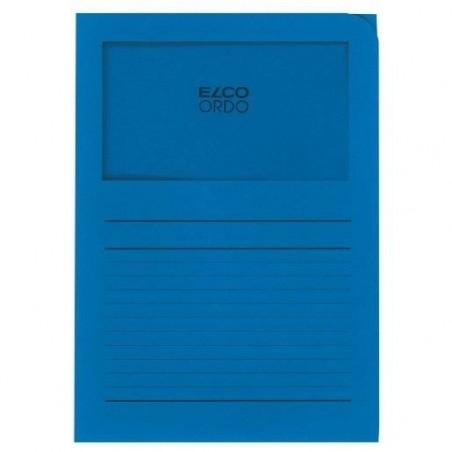 RAINEX Boîte de 100 pochettes coins en carte 120g, avec fenêtre, 22x31cm, bleu vif